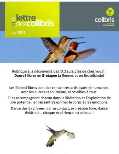 Les Colibris nous annoncent, sans leur avoir demandé ! ;-)